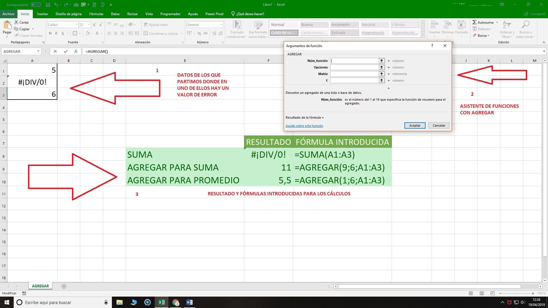 Función AGREGAR en Excel ejercicio y explicación
