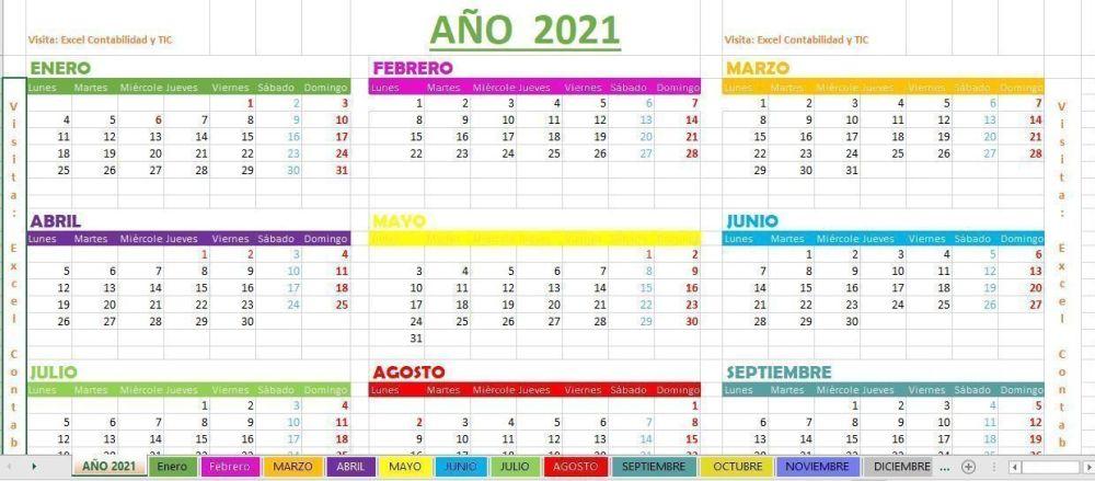 Calendario 2021 Excel
