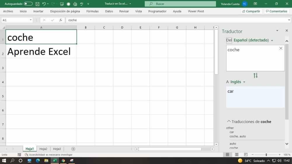 Traducir palabras y frases en Excel