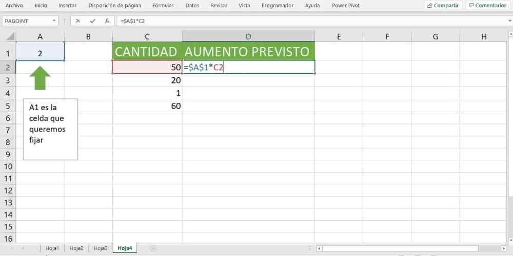 símbolo Excel para fórmulas