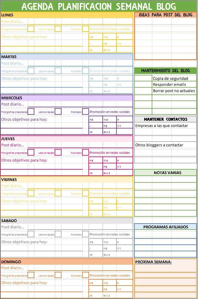 Excel agenda Blog