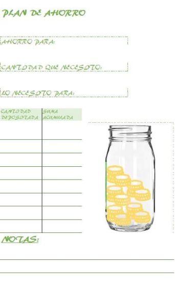 Plan ahorro imprimible en Excel