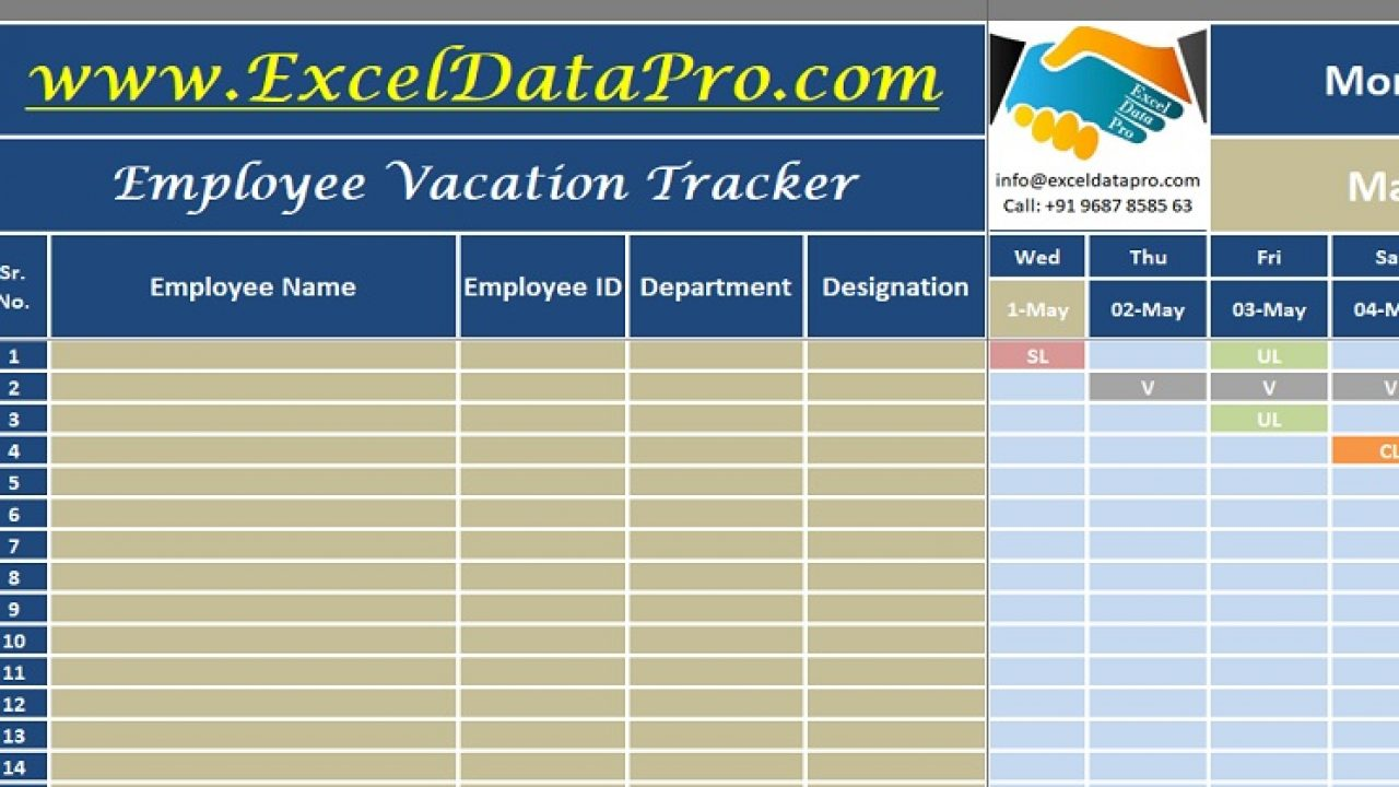 Download Employee Vacation Tracker Excel Template Exceldatapro