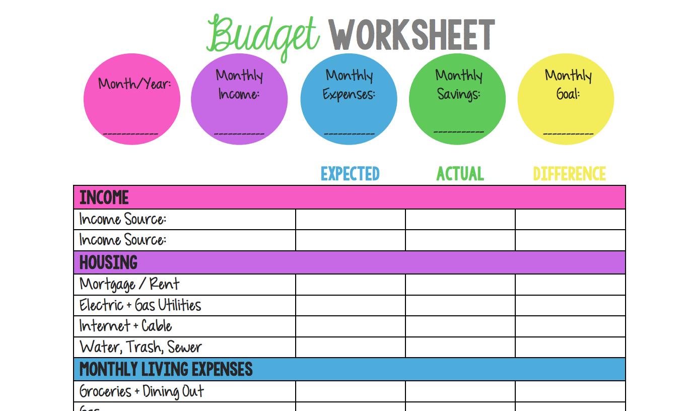 Budget Planner Worksheet Workshee Budget Planner Worksheet