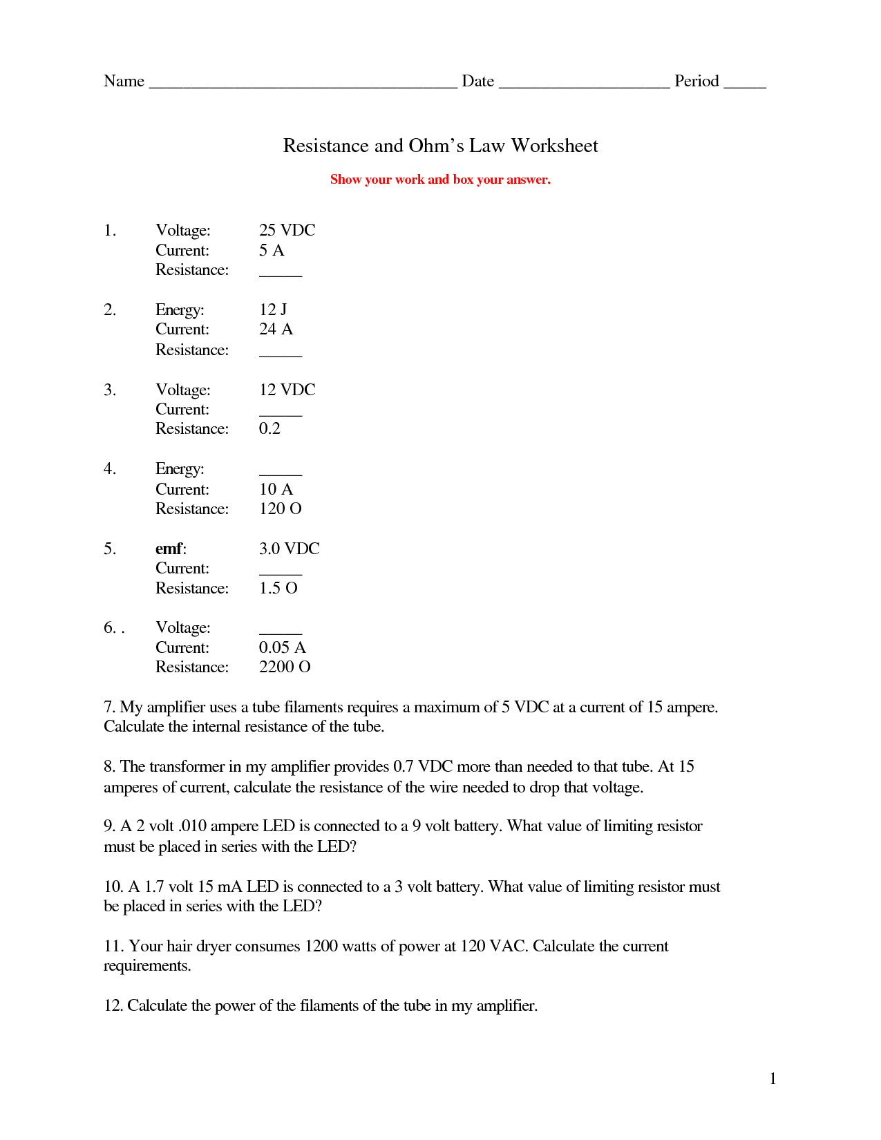 Ohm039s Law Worksheet Answers