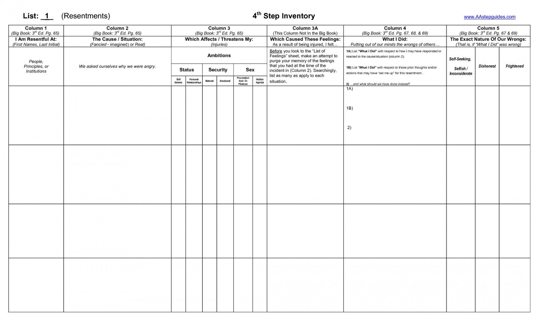 Fourth Step Inventory Worksheet
