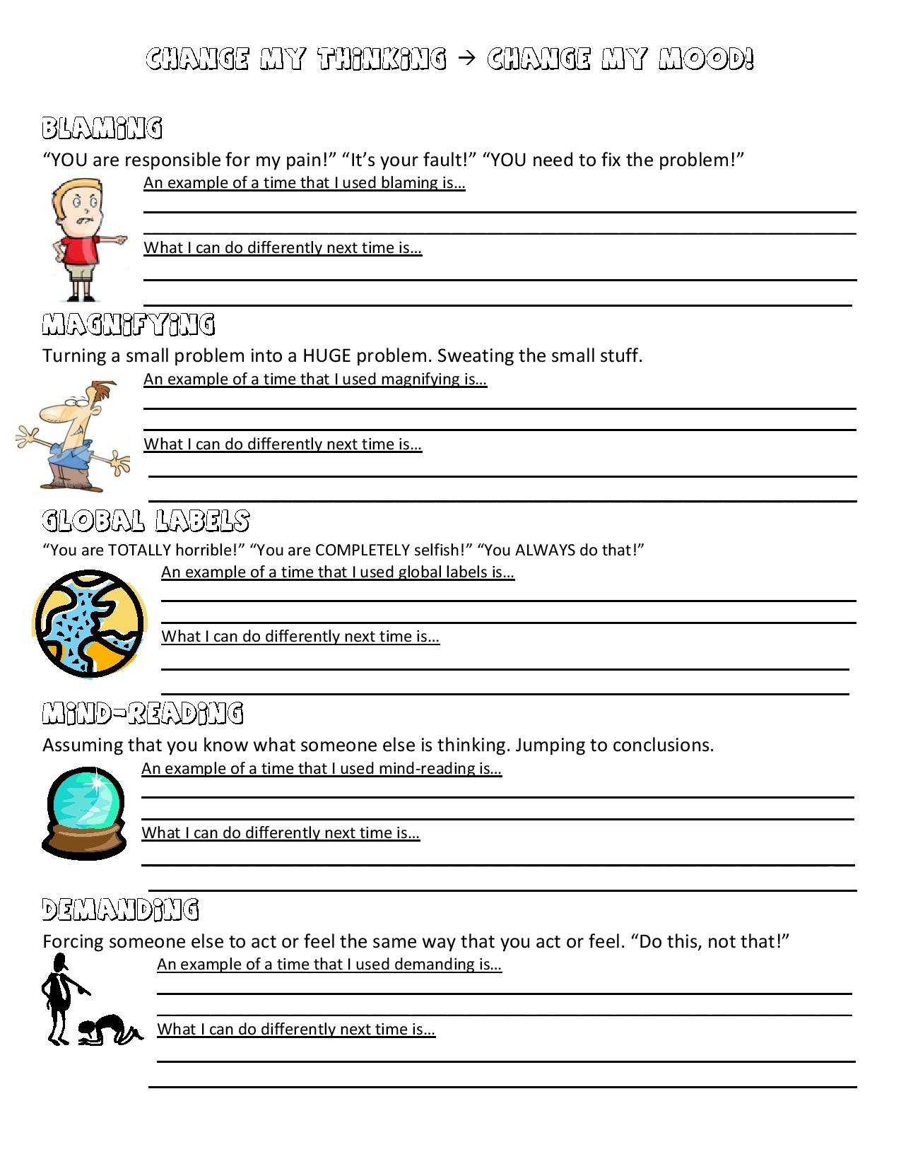 Social Skills Worksheets For Middle School