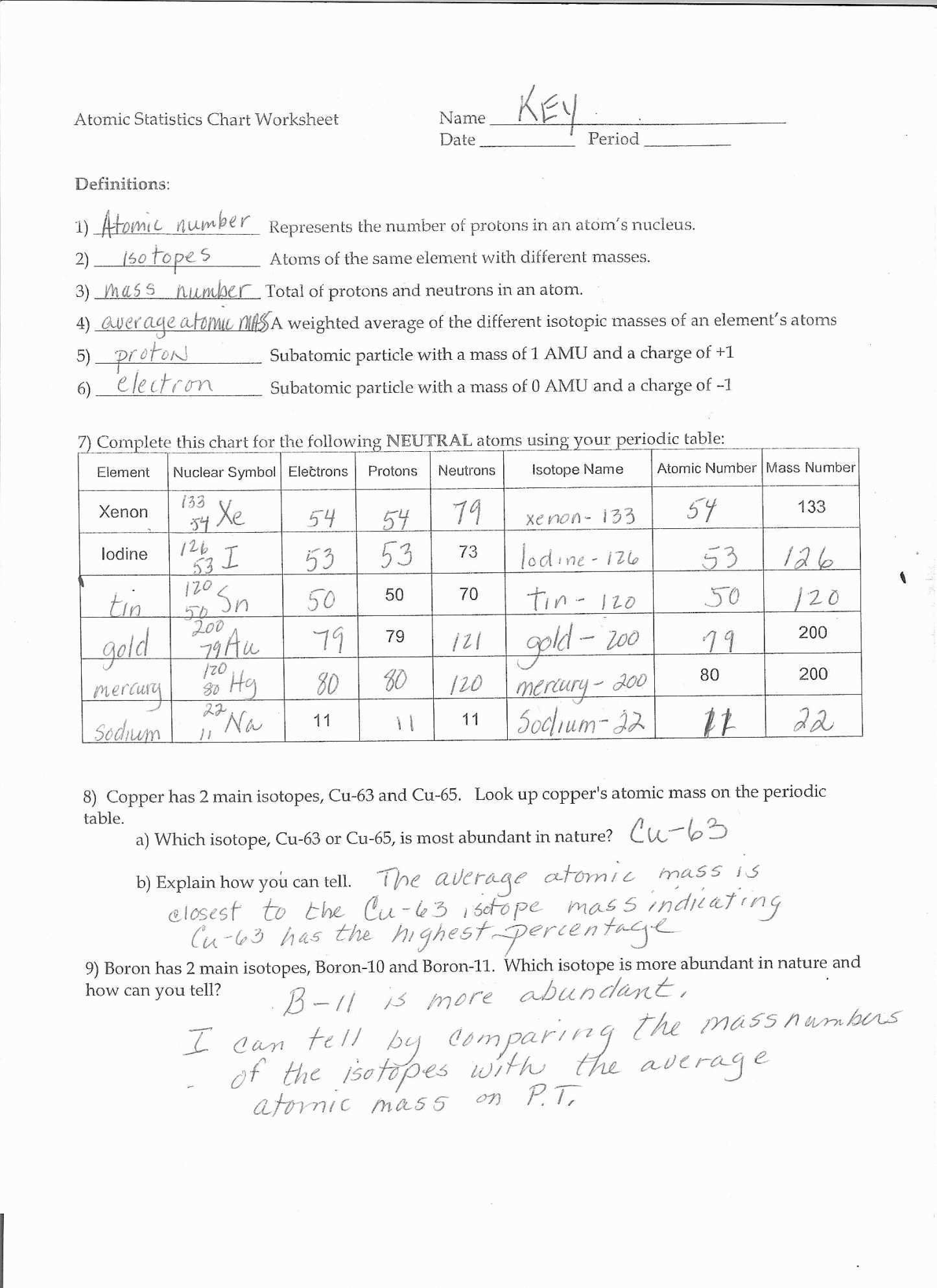 Isotope Practice Worksheet Answer Key