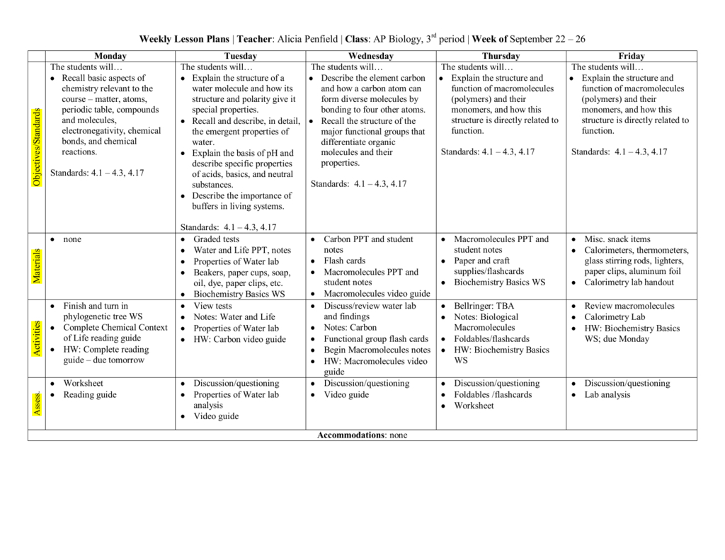 Biochemistry Basics Worksheet Answers