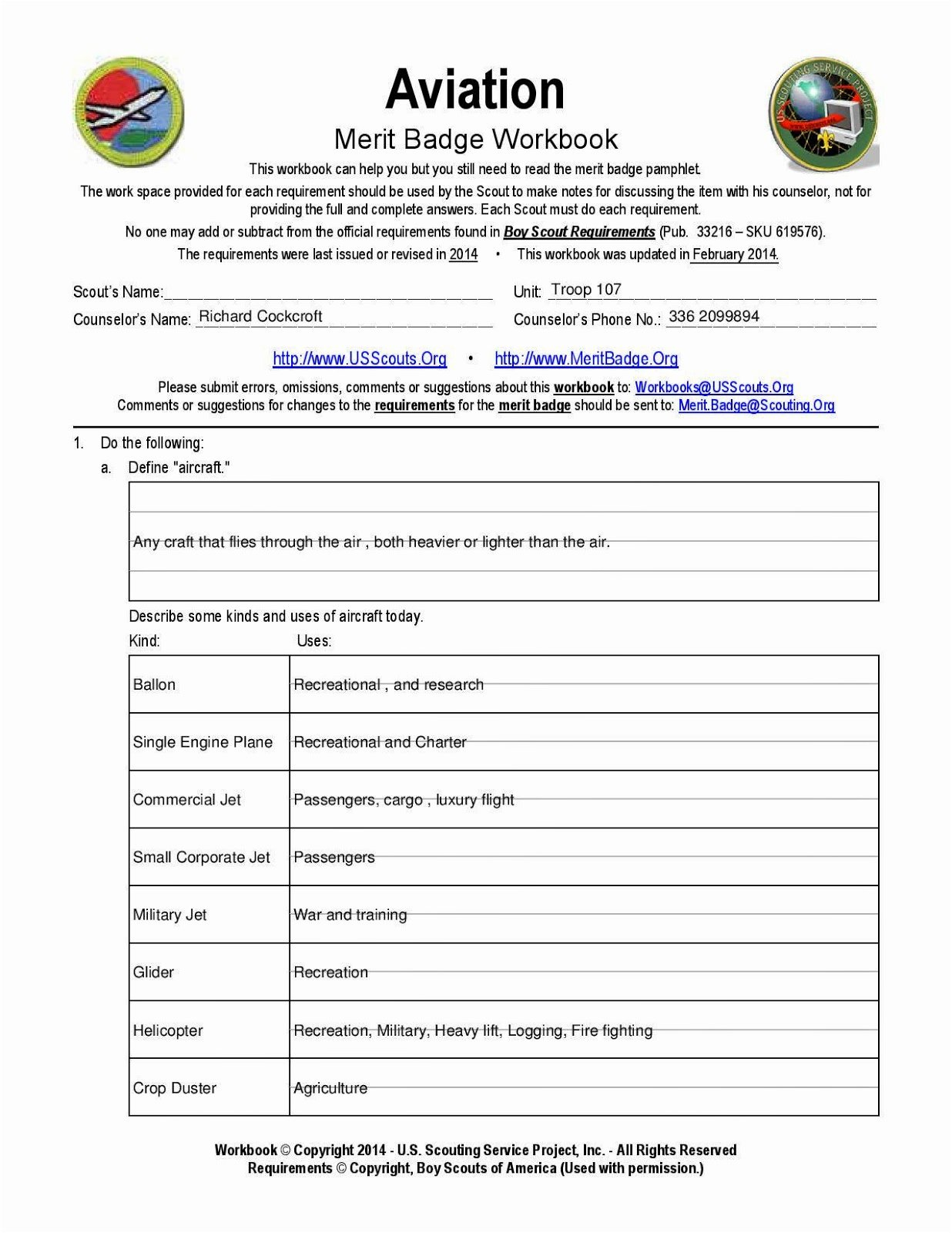 Chemistry Merit Badge Worksheet