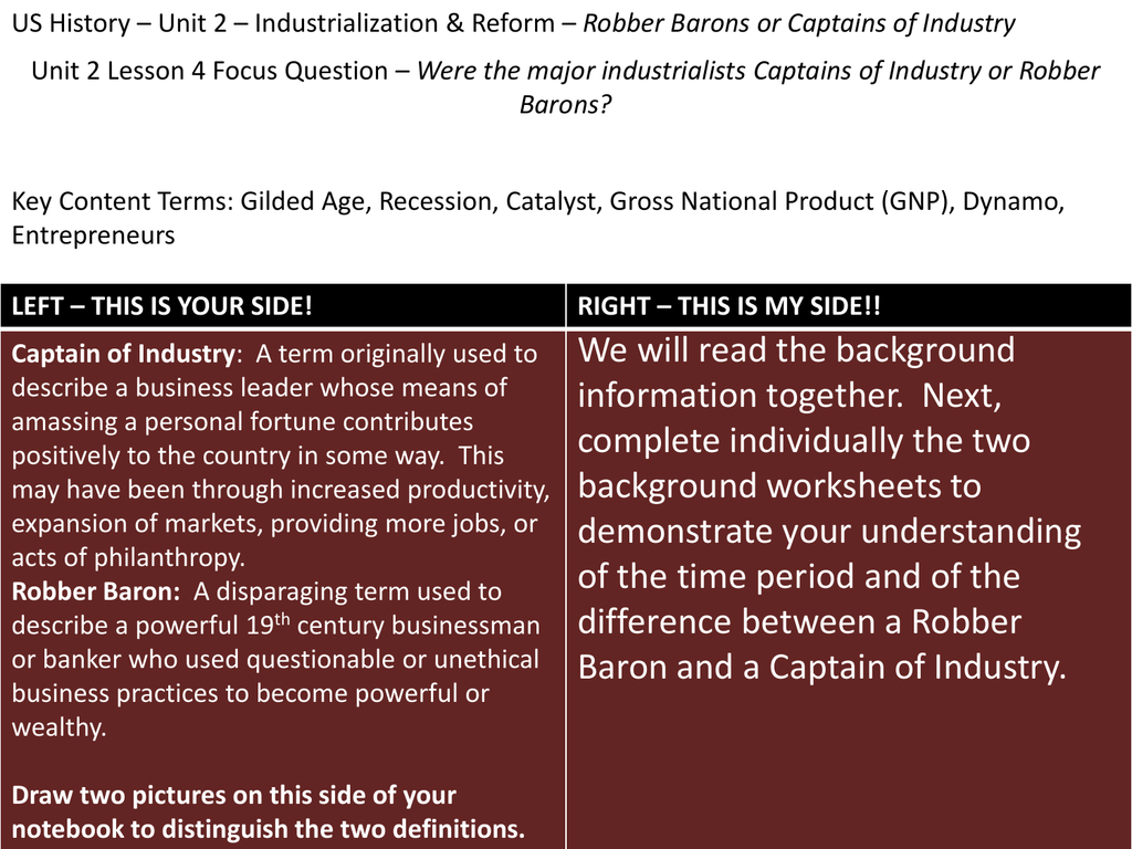 Captains Of Industry Or Robber Barons Worksheet Answers