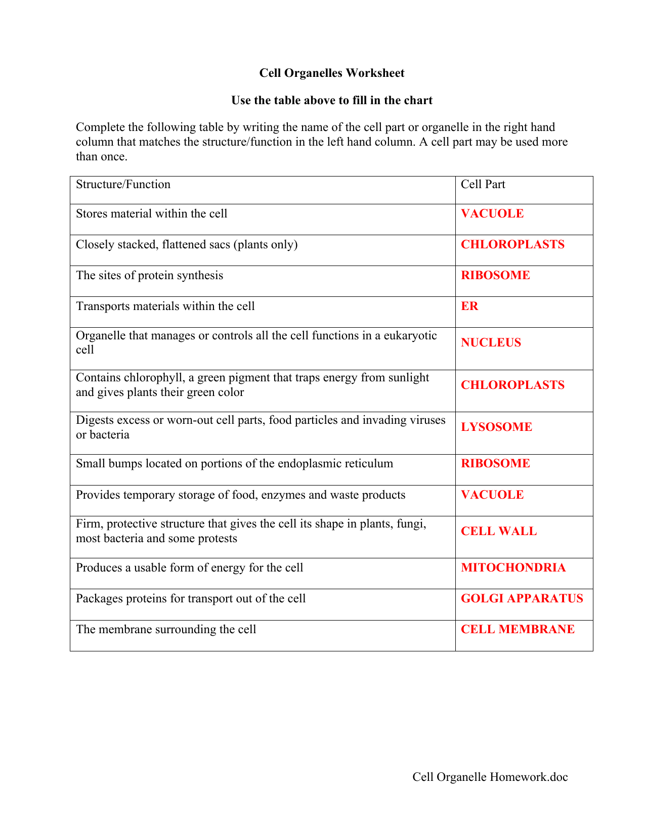Cell Parts And Functions Worksheet Answers