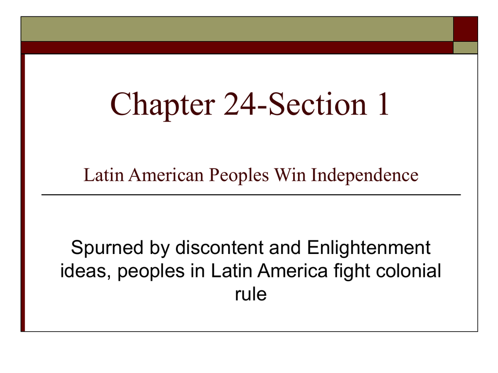 Latin American Peoples Win Independence Worksheet Answer
