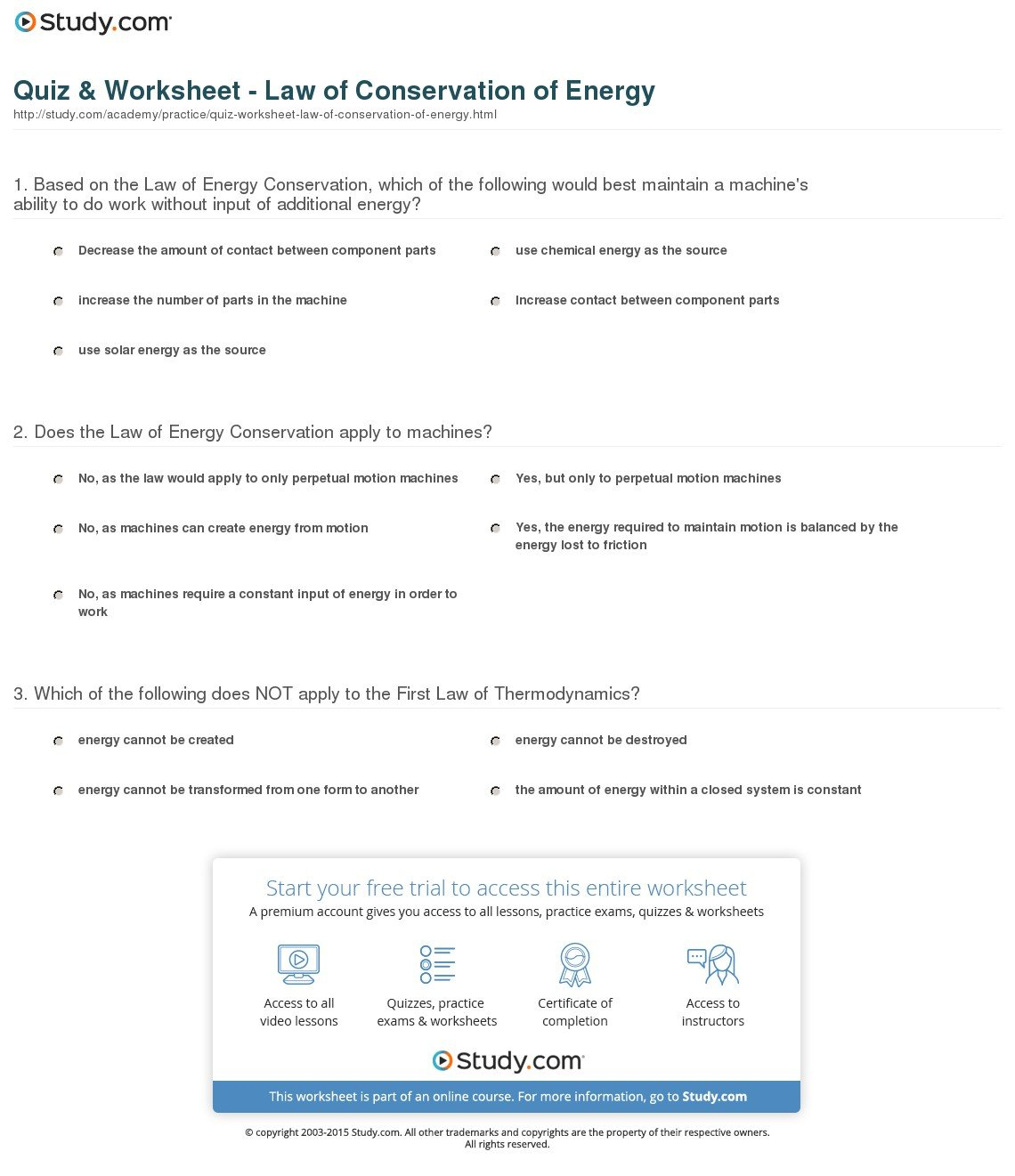 Conservation Of Energy Worksheet Answer Key