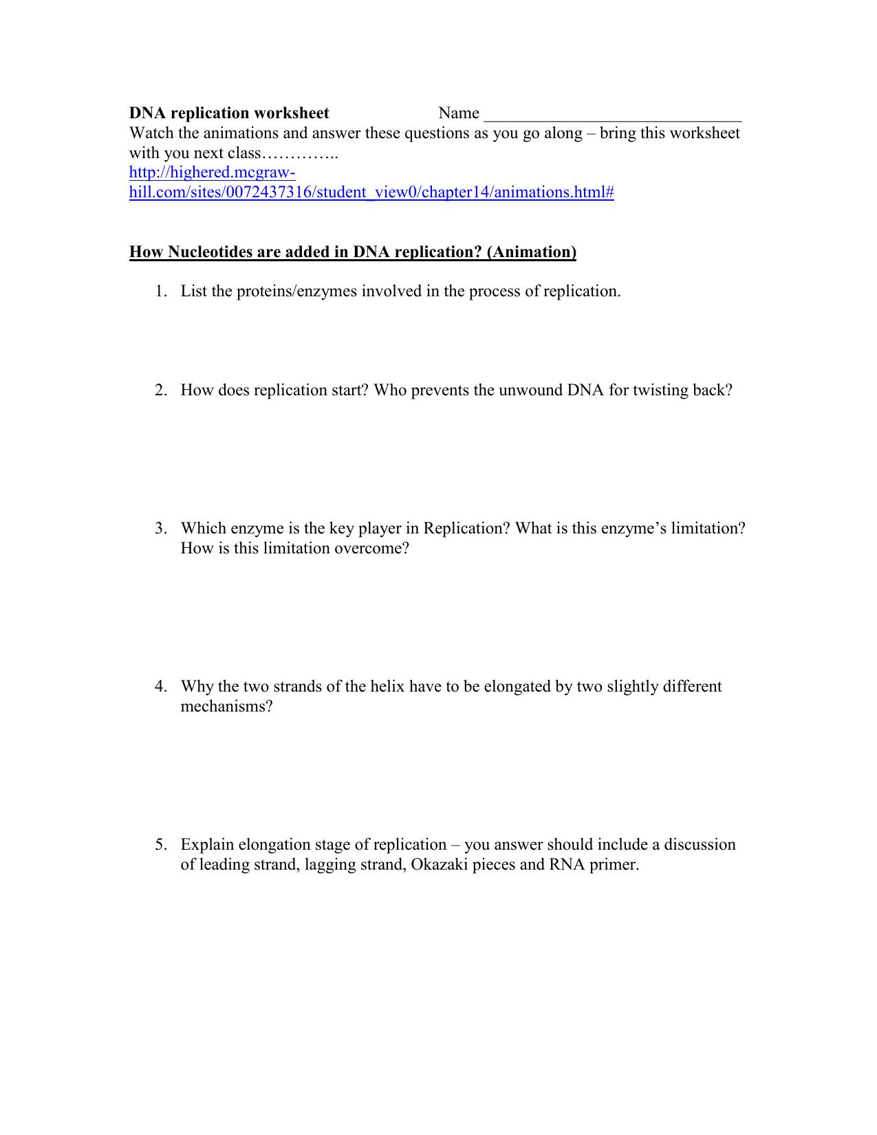 Dna Replication Worksheet Key