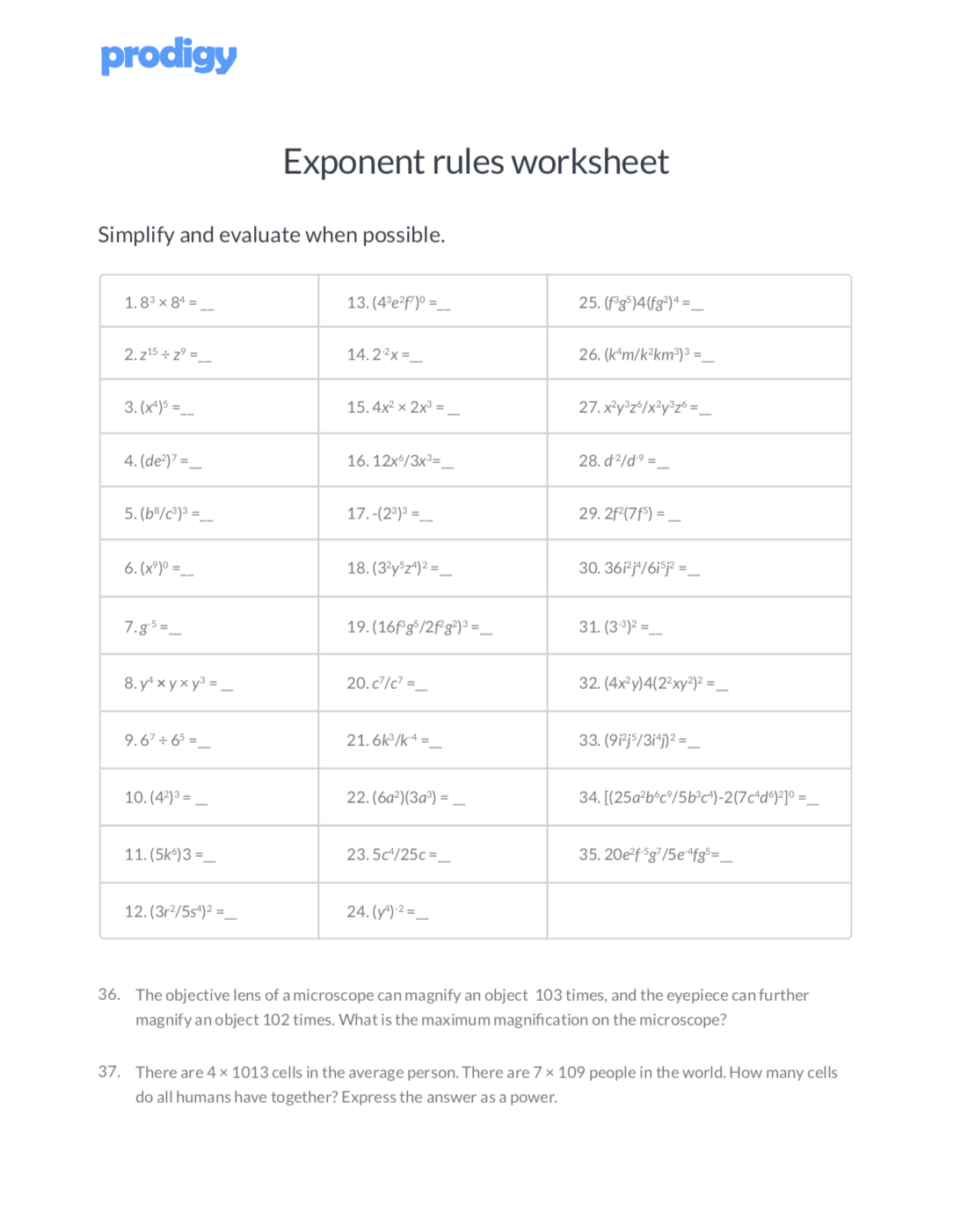 Exponent Rules Worksheet Answer Key — excelguider.com