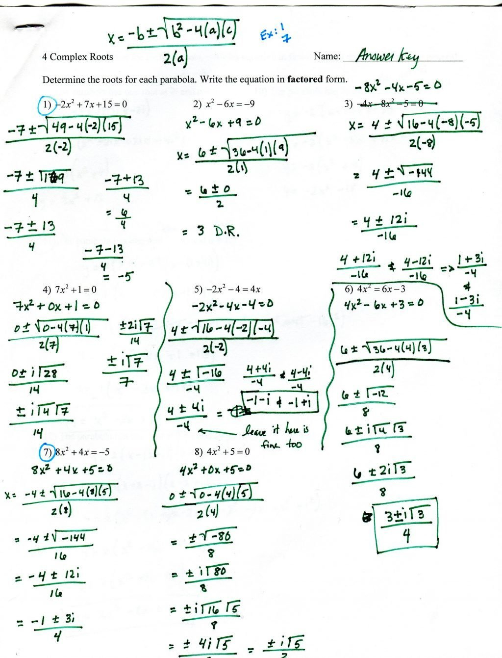 Factoring Trinomials Worksheet With Answer Key