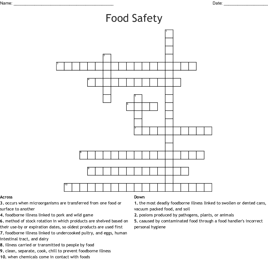 Food Safety And Sanitation Worksheet Answers Excelguider