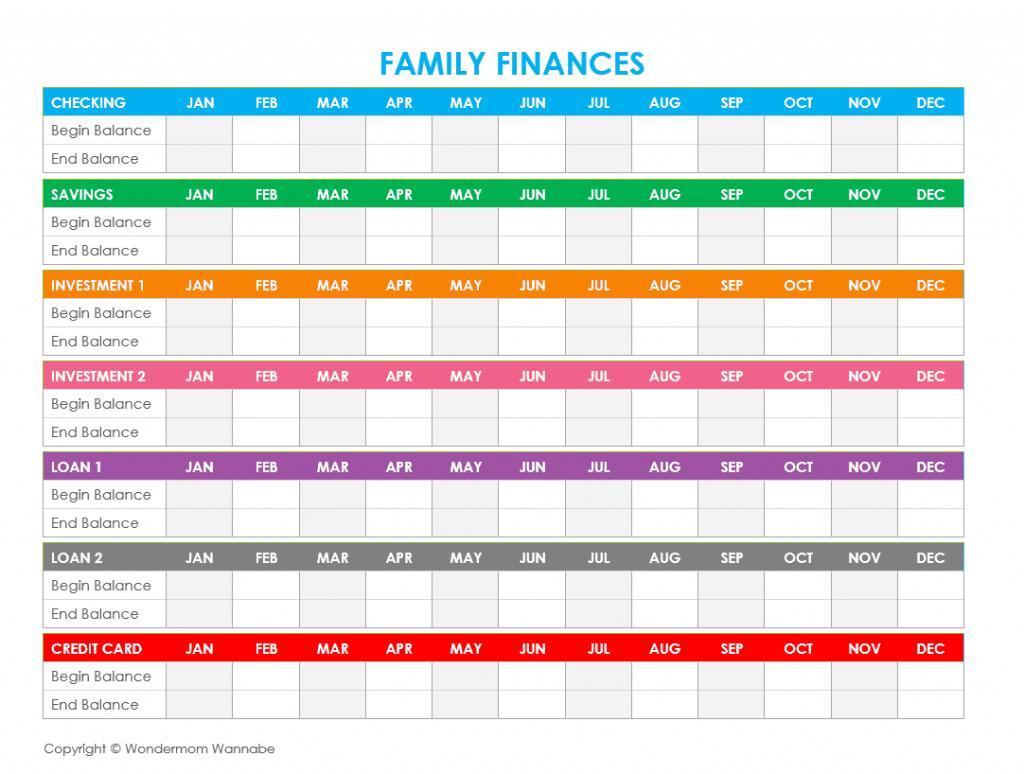 Family Finances Worksheet