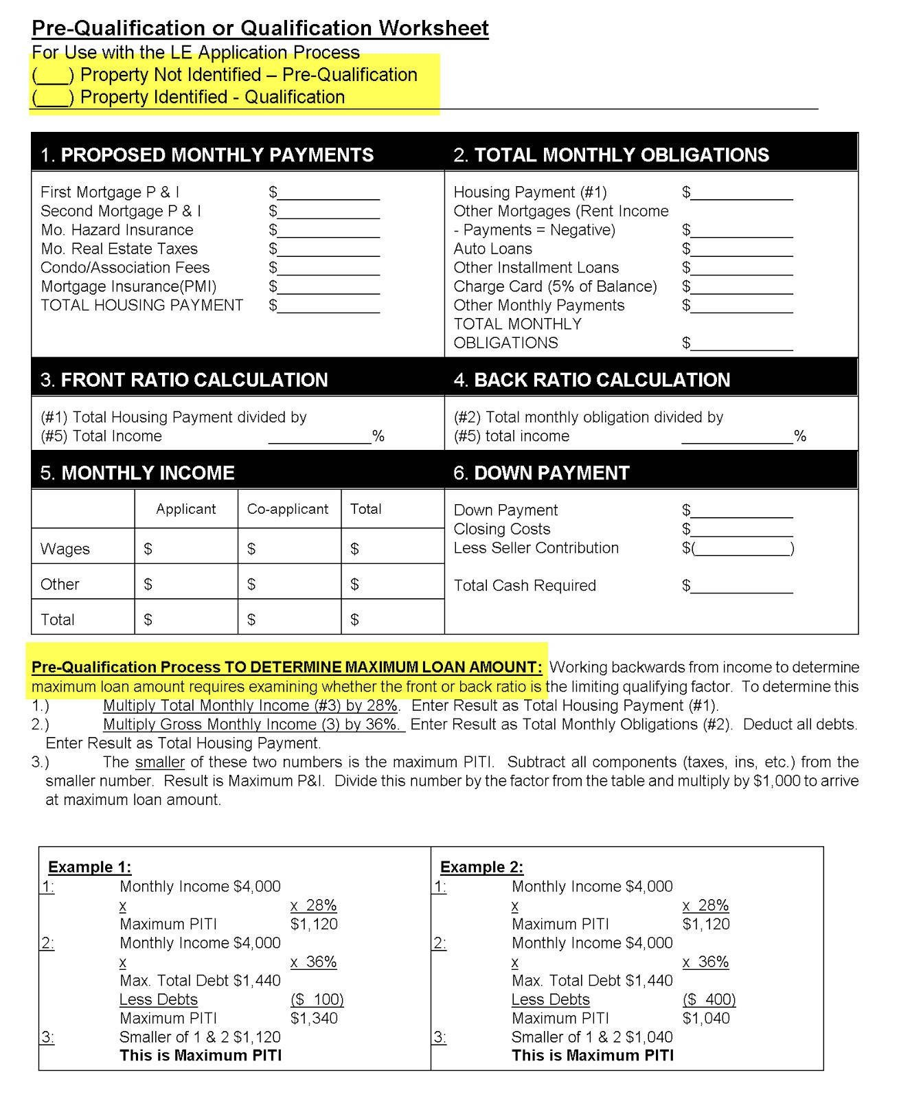 Va Maximum Loan Amount Worksheet