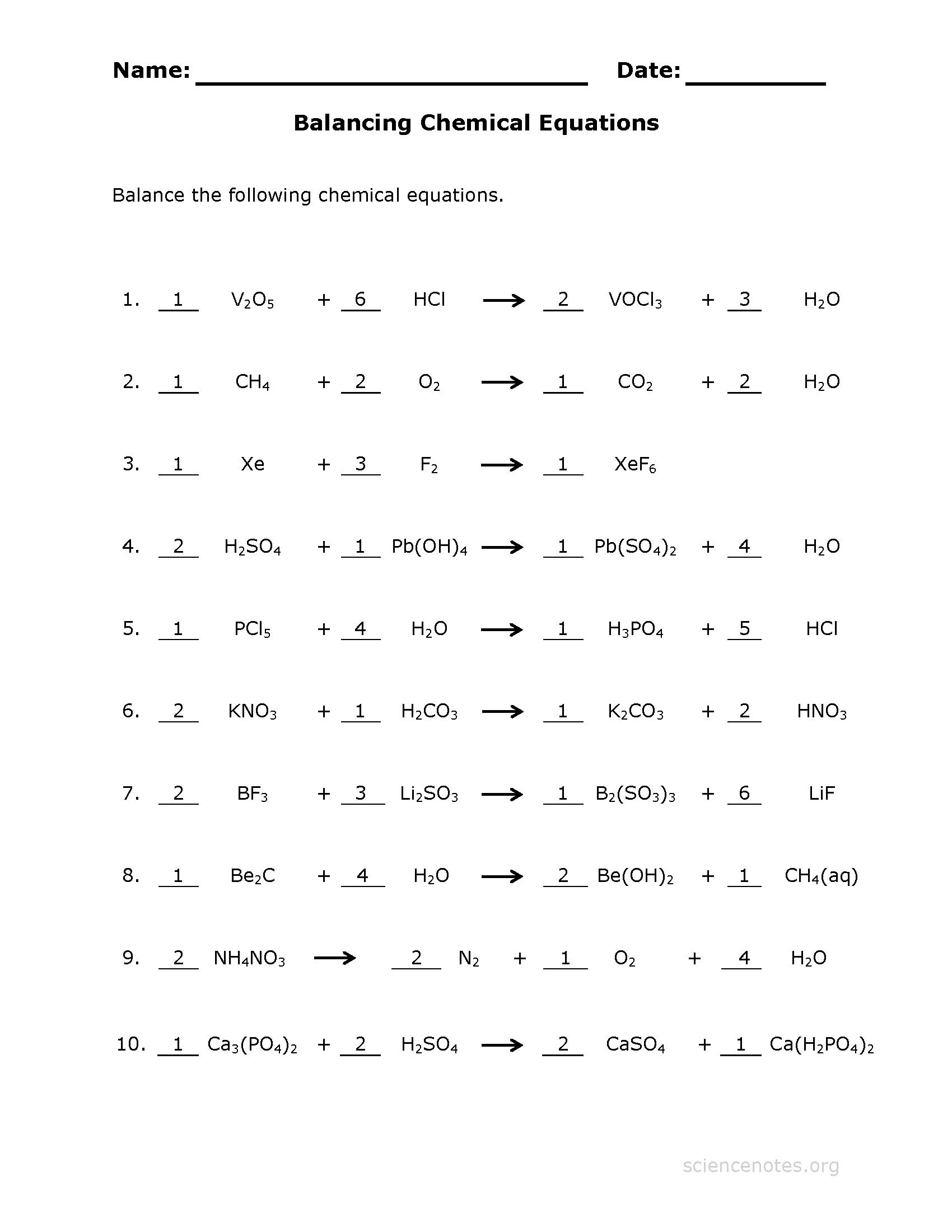 Balancing Equations Worksheet 1 Answer Key