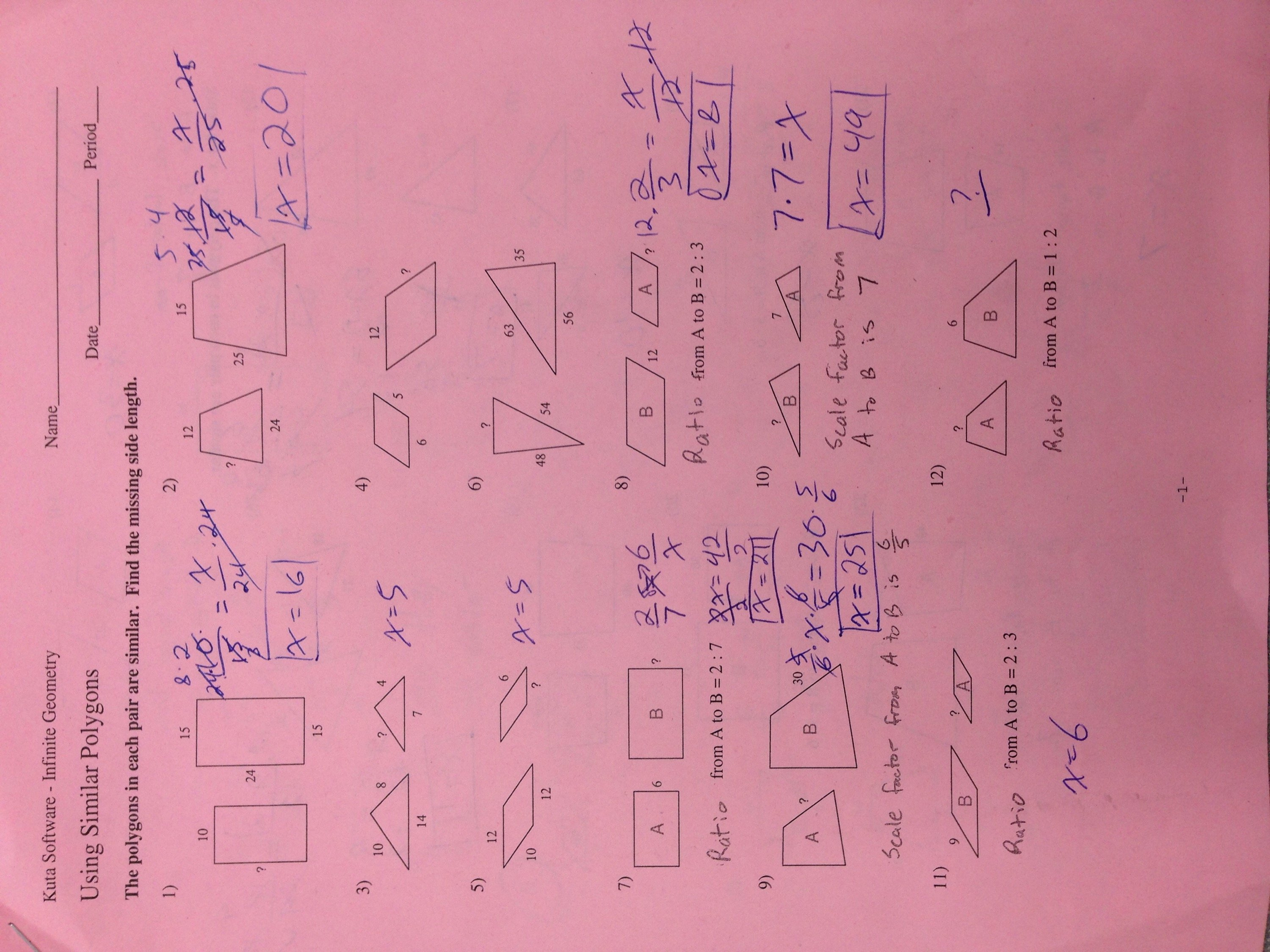 Similar Polygons Worksheet Answers