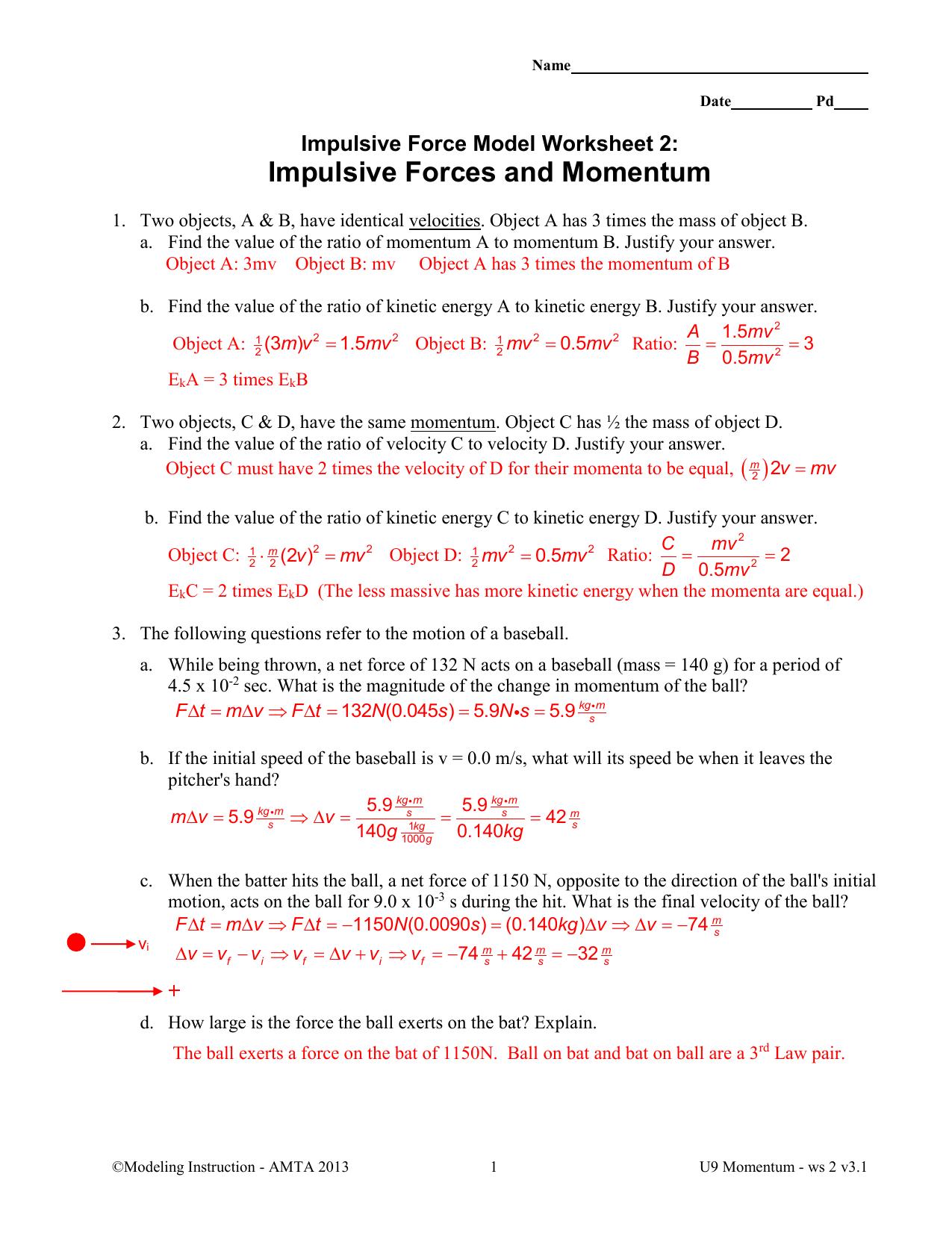 Momentum Worksheet Answers