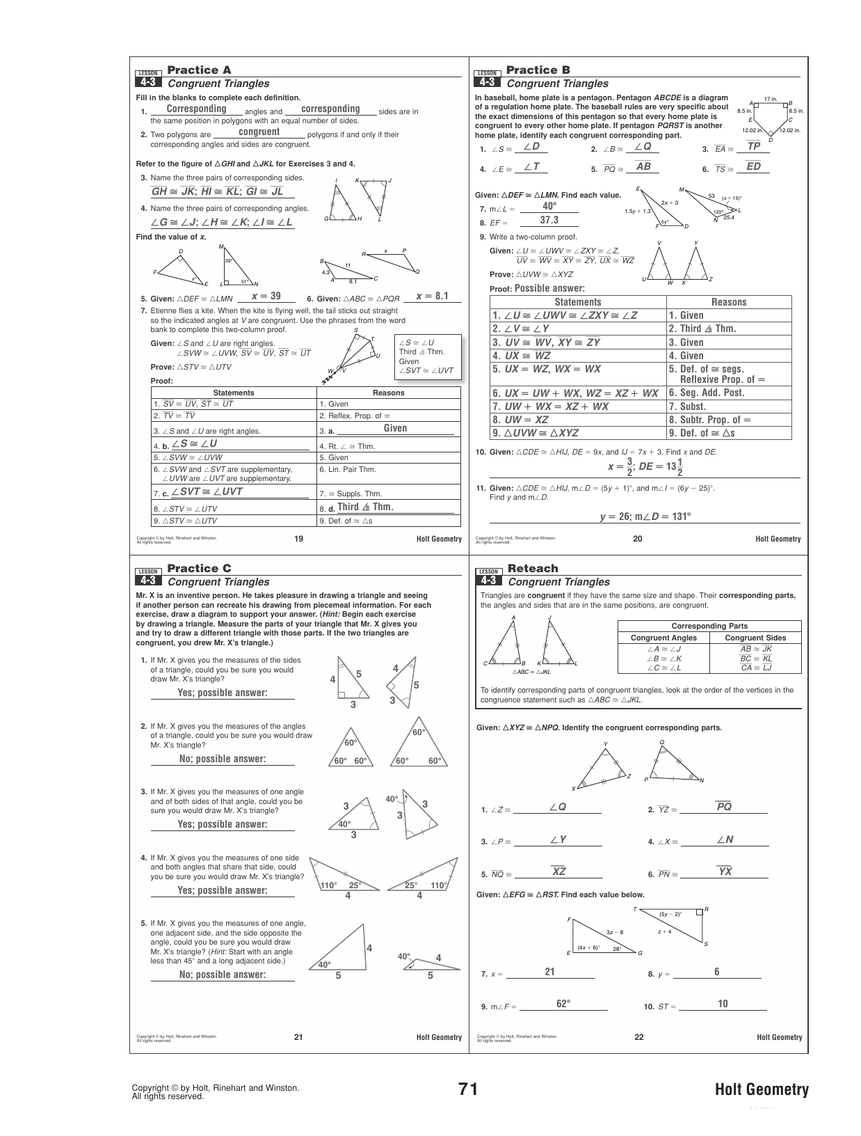 4 3 Practice Congruent Triangles Worksheet Answers