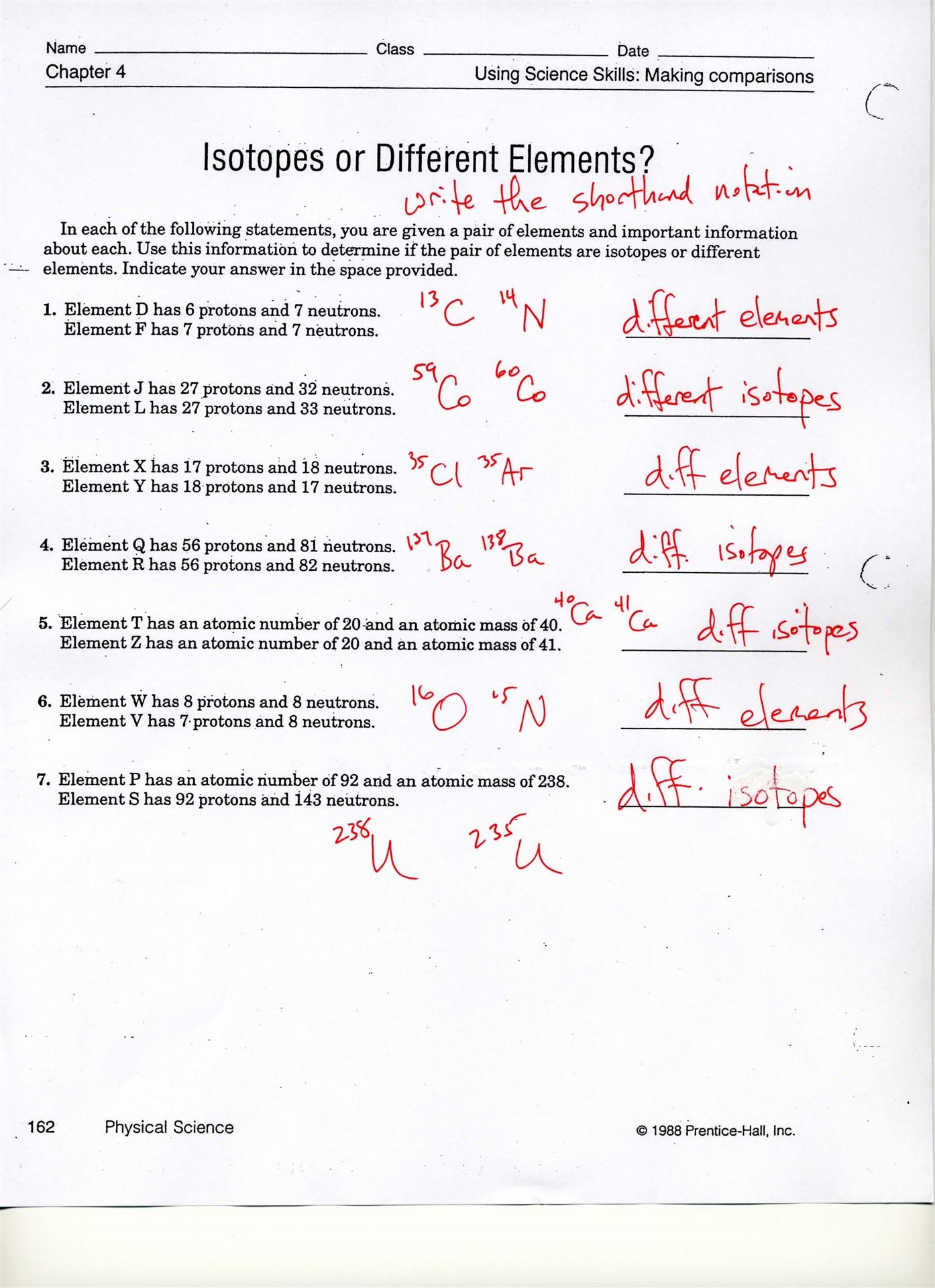 Isotopes Or Different Elements Chapter 4 Worksheet Answers