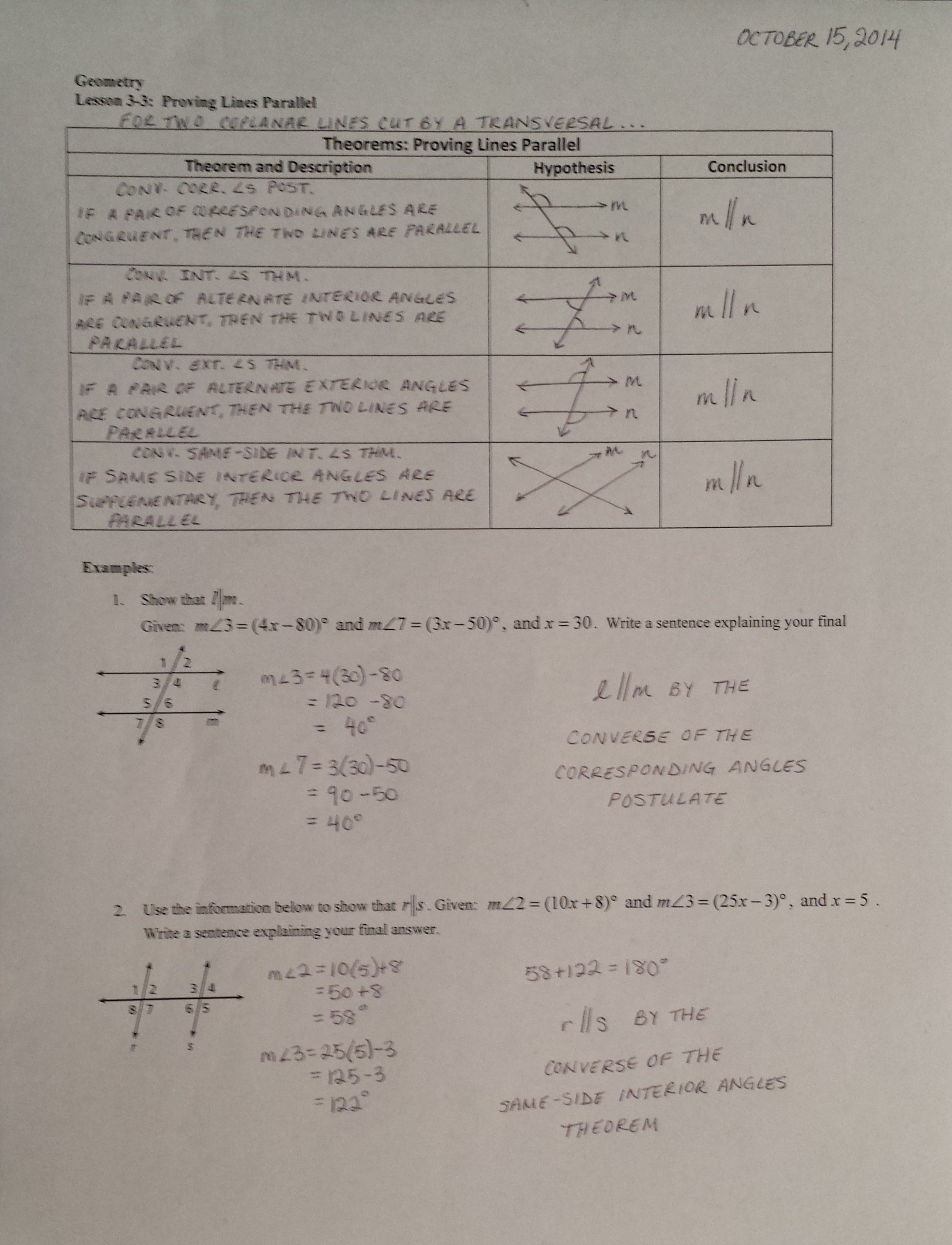 3 3 Proving Lines Parallel Worksheet Answers
