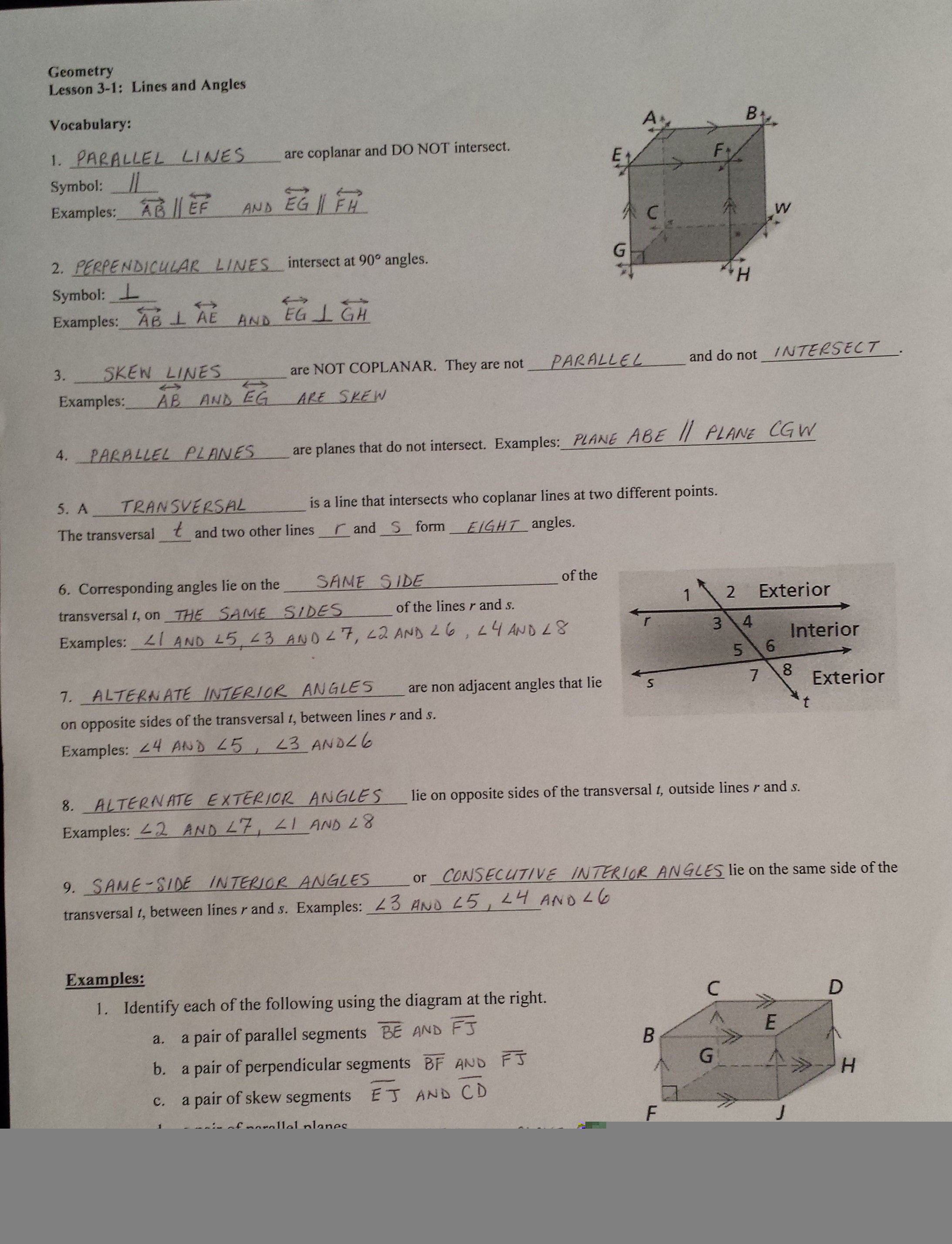 3 1 Lines And Angles Worksheet Answers