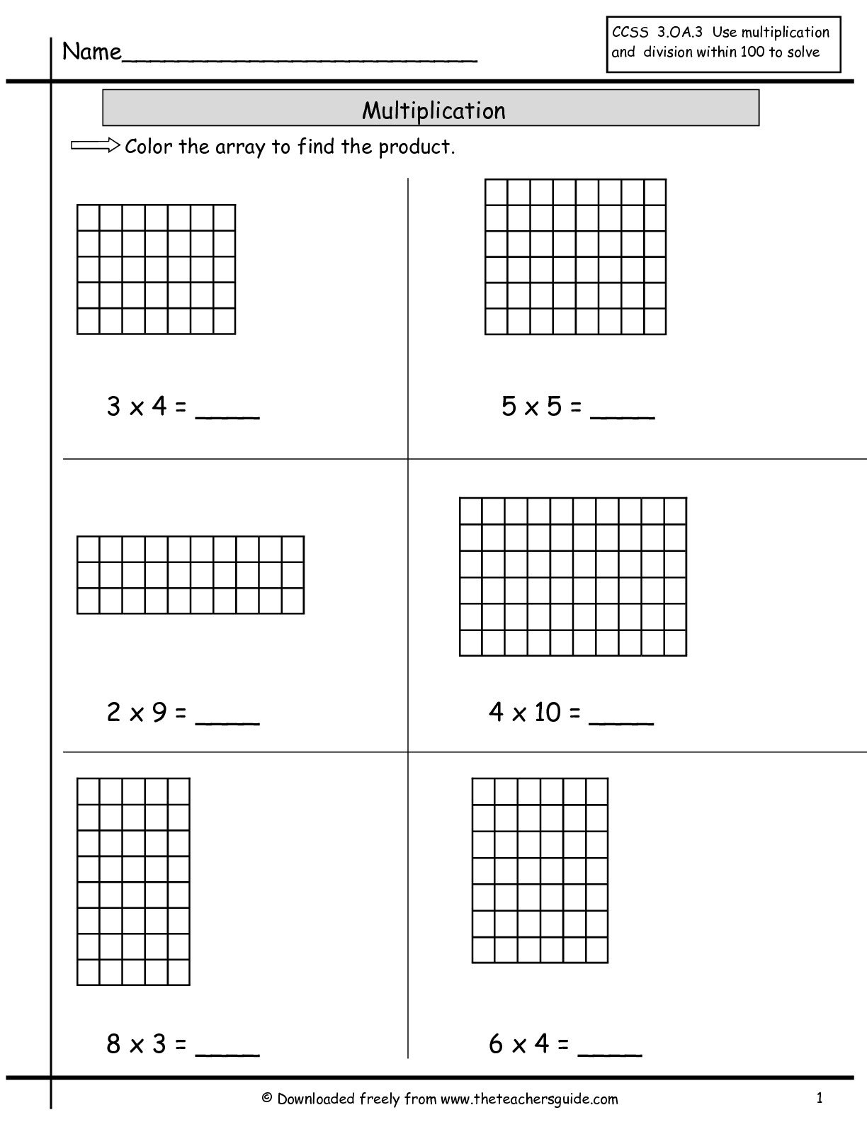 hight resolution of Array Model Multiplication Worksheets   Printable Worksheets and Activities  for Teachers