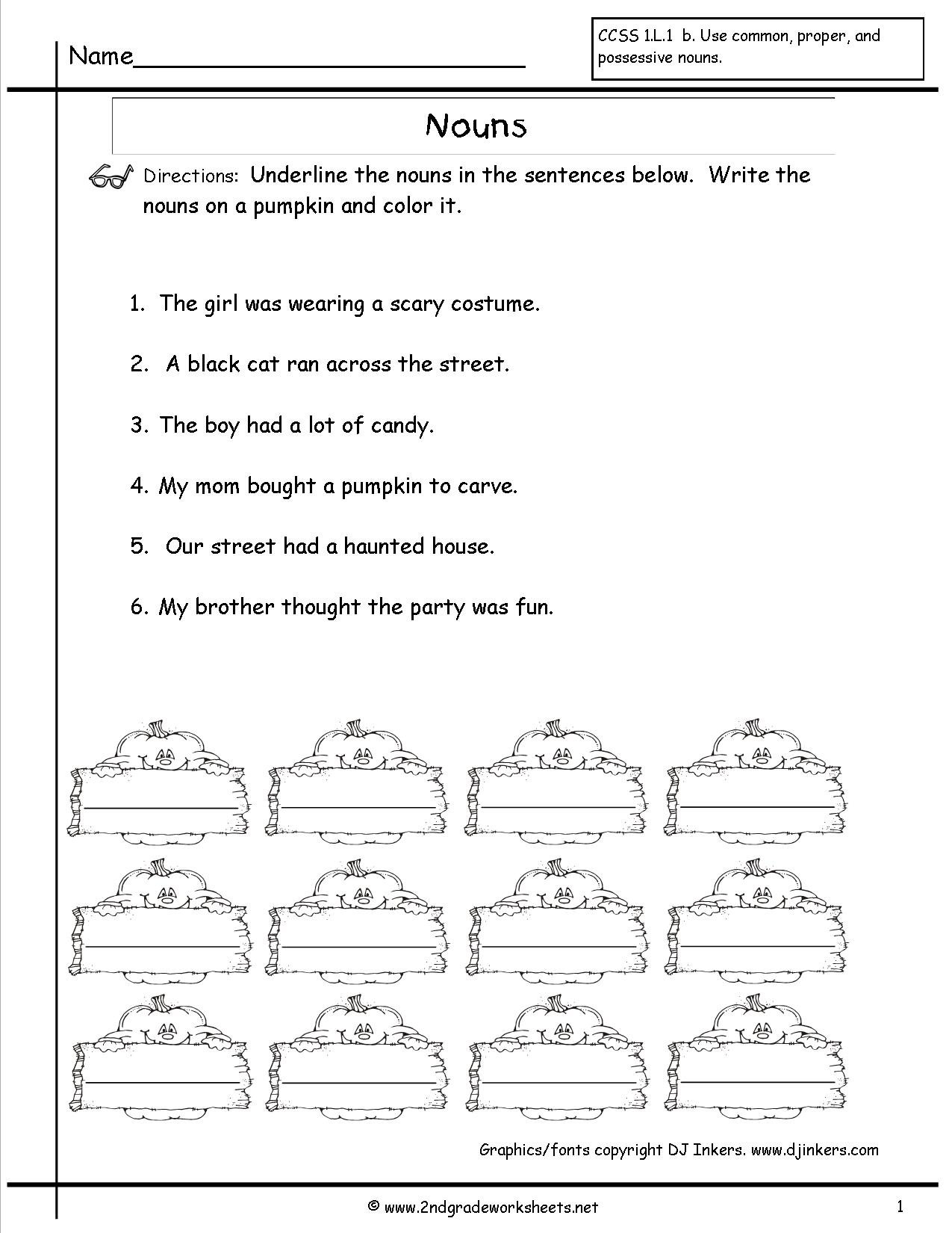 Nouns Worksheet 4th Grade Excelguider