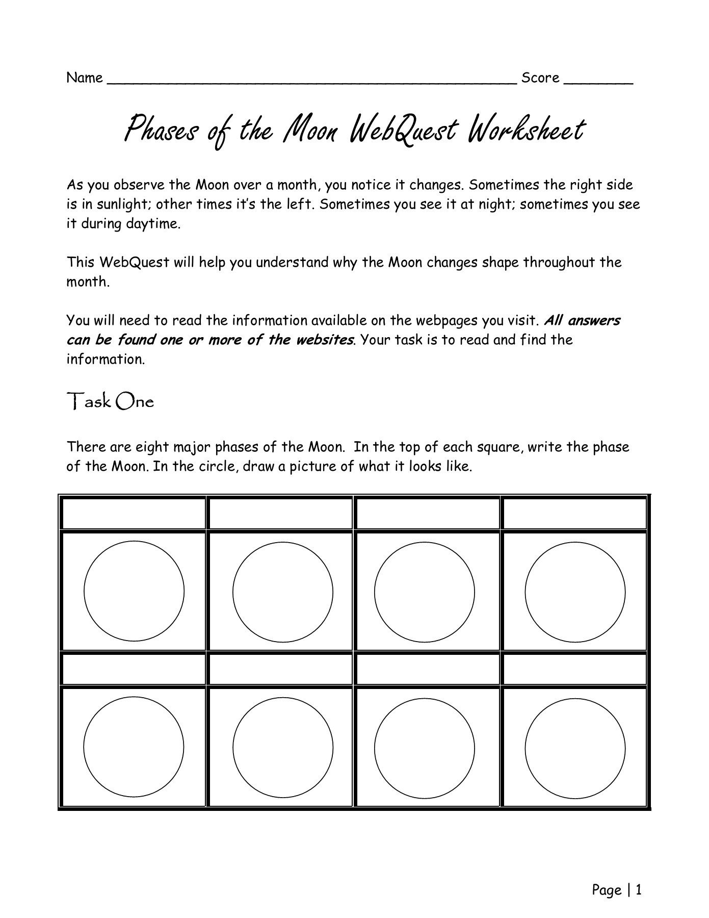 hight resolution of All Moon Phases Worksheets   Printable Worksheets and Activities for  Teachers