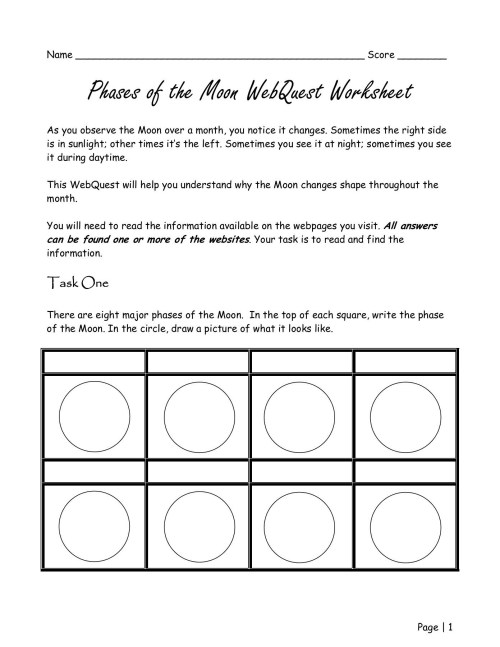 small resolution of All Moon Phases Worksheets   Printable Worksheets and Activities for  Teachers