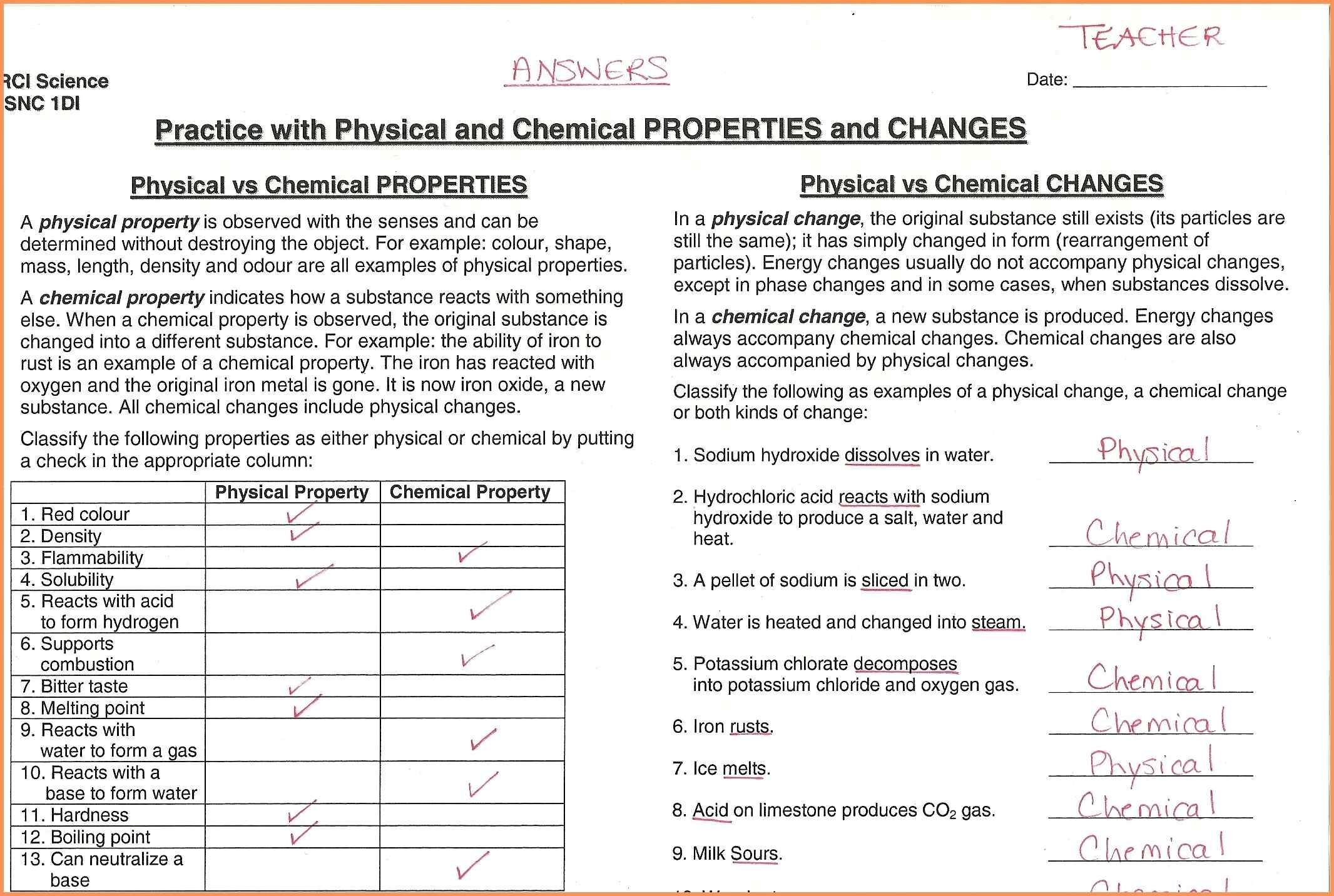 Matter Properties And Changes Worksheet Answers