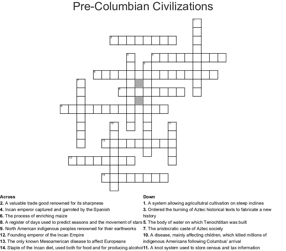 Pre Columbian Civilizations Worksheet Answers