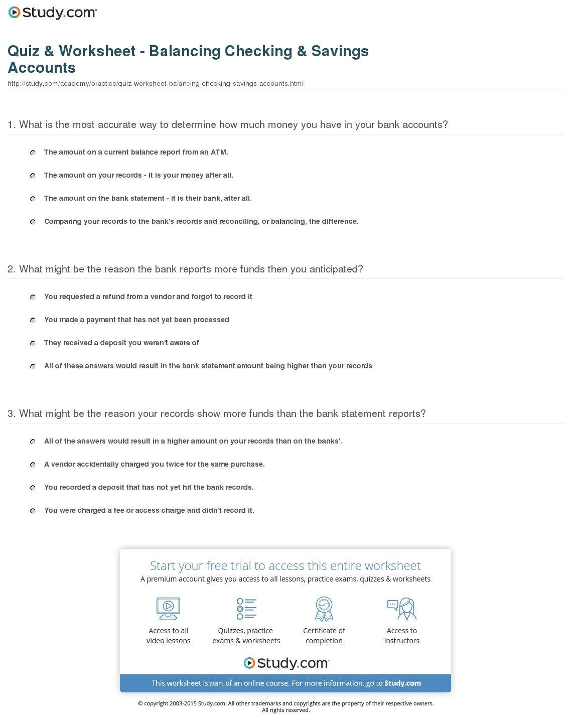 Checking Account Balance Worksheet