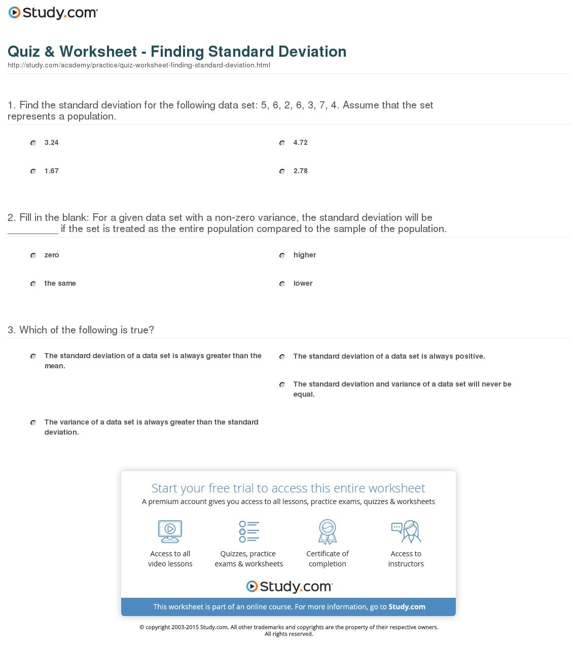 Standard Deviation Worksheet With Answers