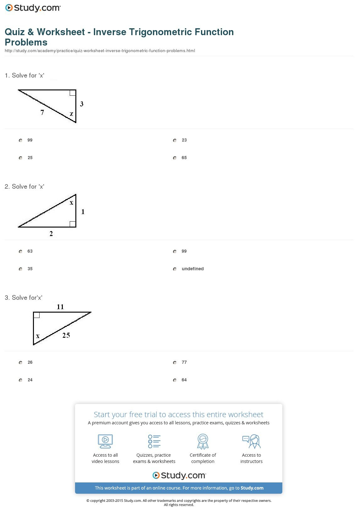 Inverse Trigonometric Ratios Worksheet Answers