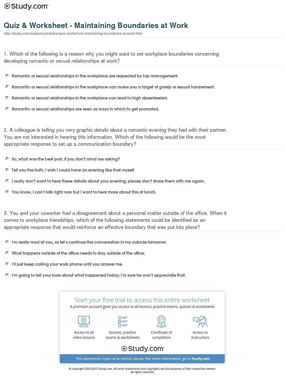 Relationship Boundaries Worksheet