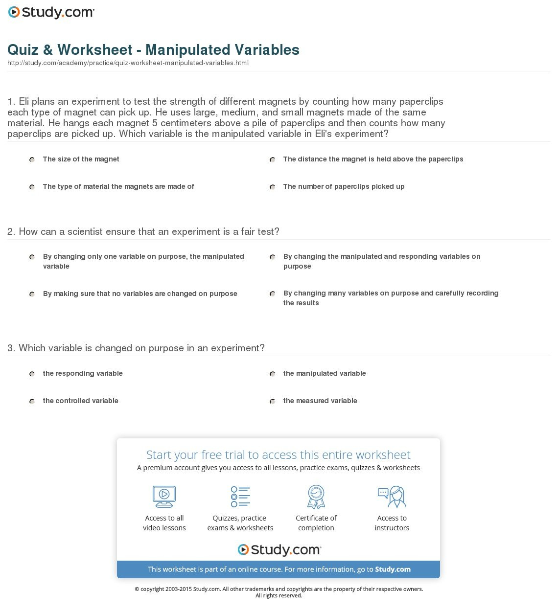 Manipulated And Responding Variables Worksheet Answers