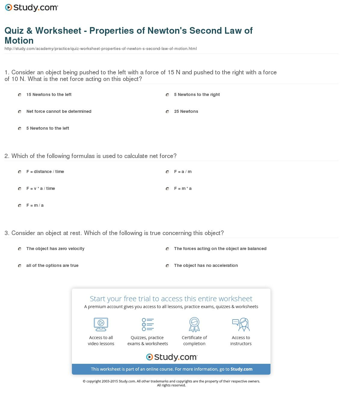 Net Force And Acceleration Worksheet Answers