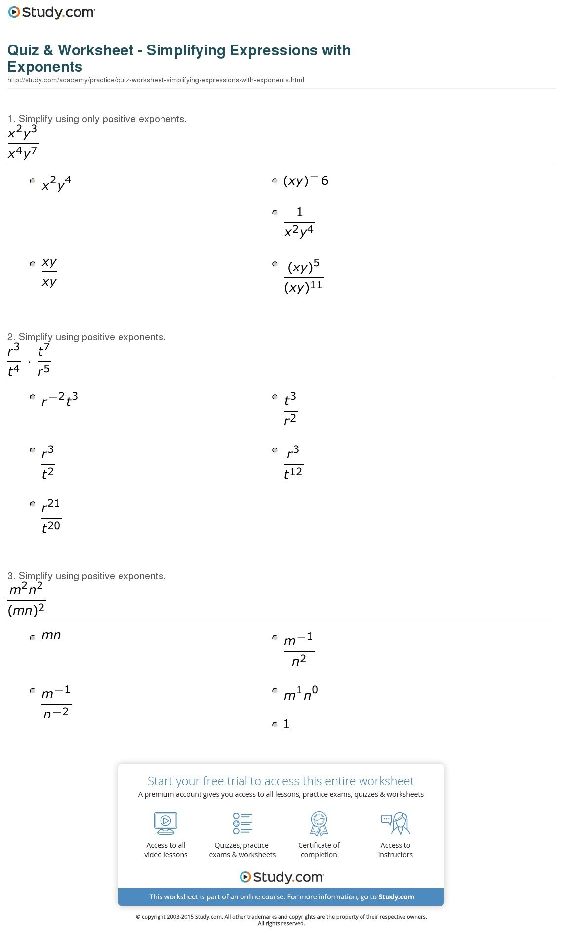 Simplifying Expressions Worksheet With Answers
