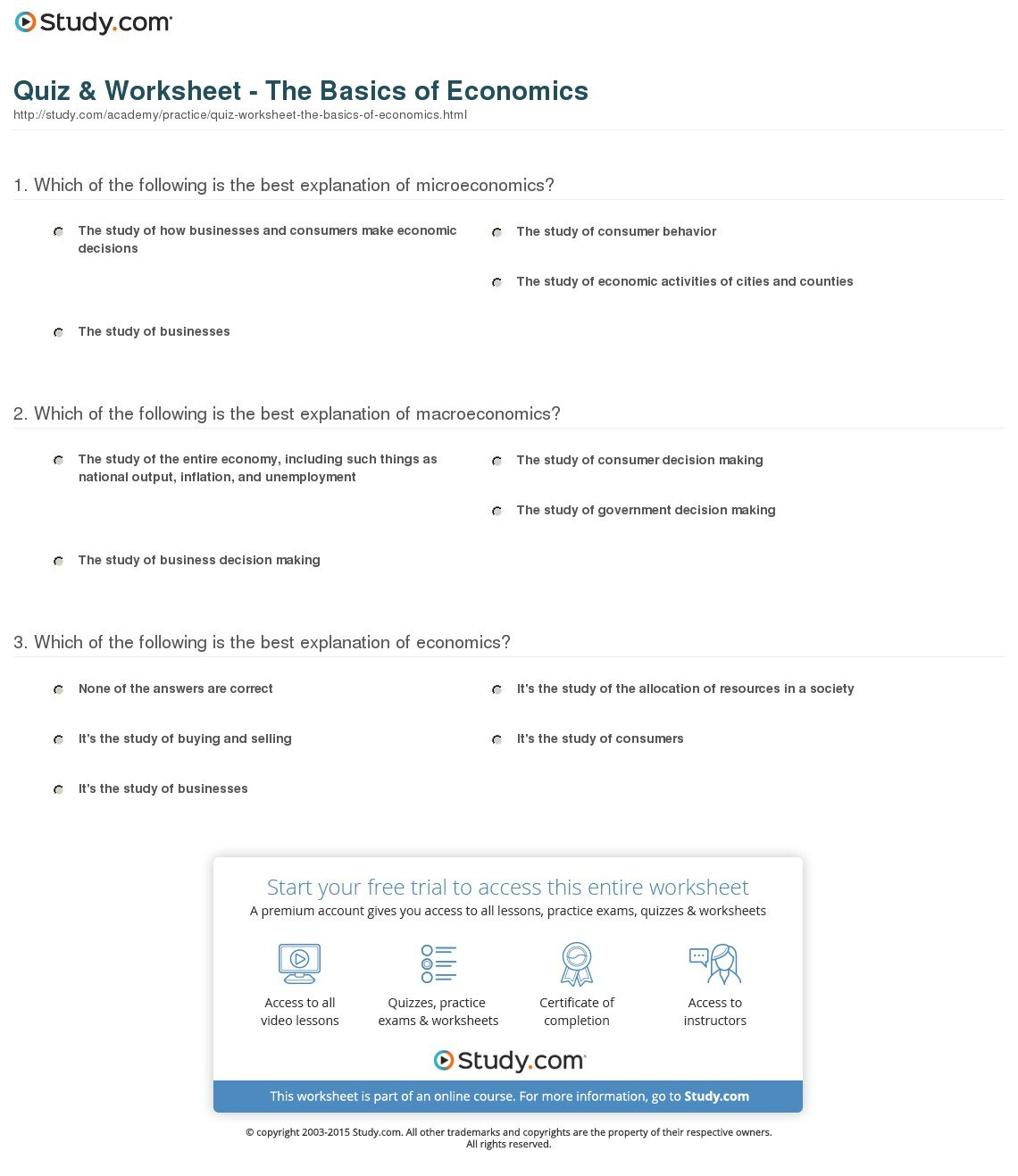 High School Economics Worksheets