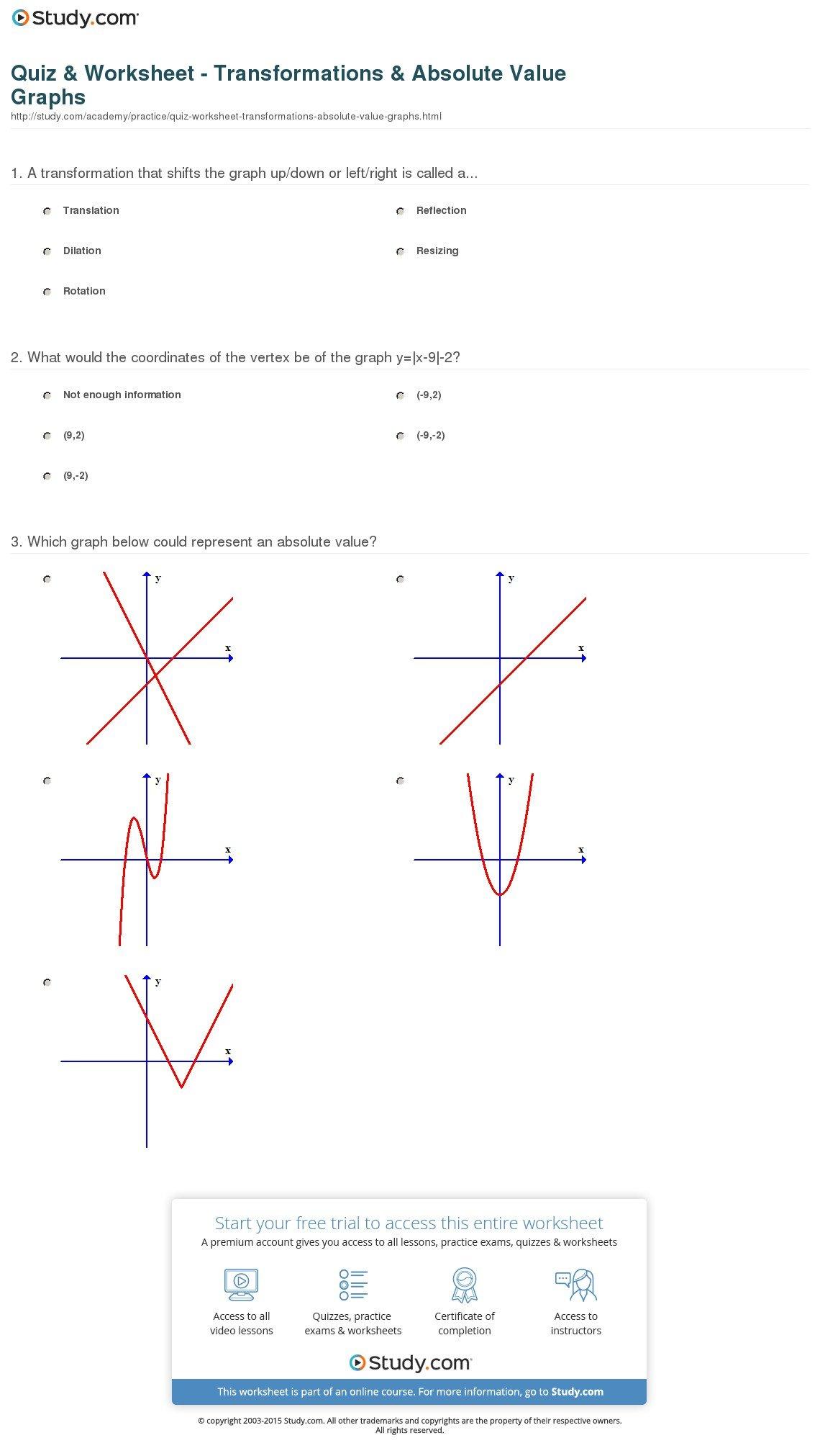 Transformations Worksheet Algebra 2
