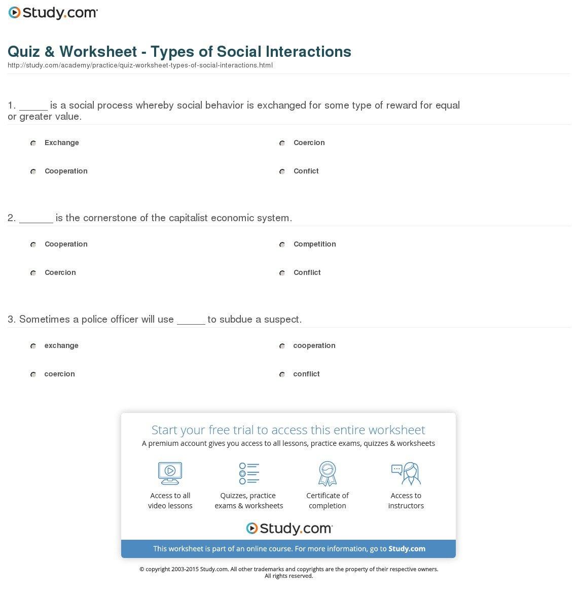 Social Interaction Worksheets