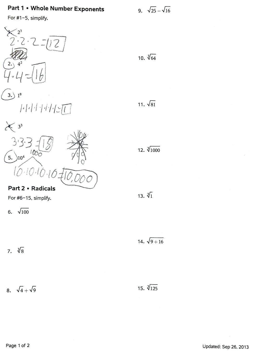 Radicals And Rational Exponents Worksheet Answers