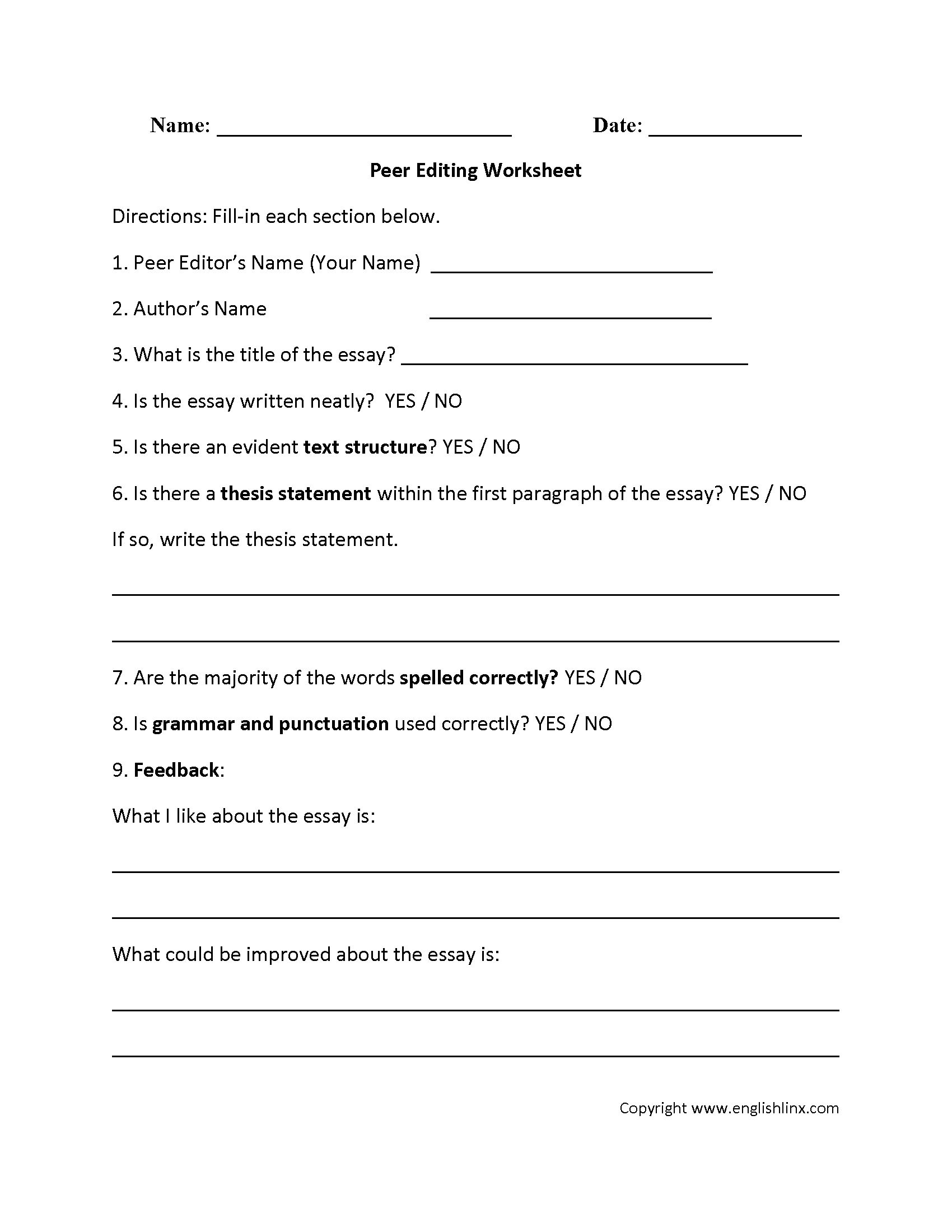 Sentence Editing Worksheets