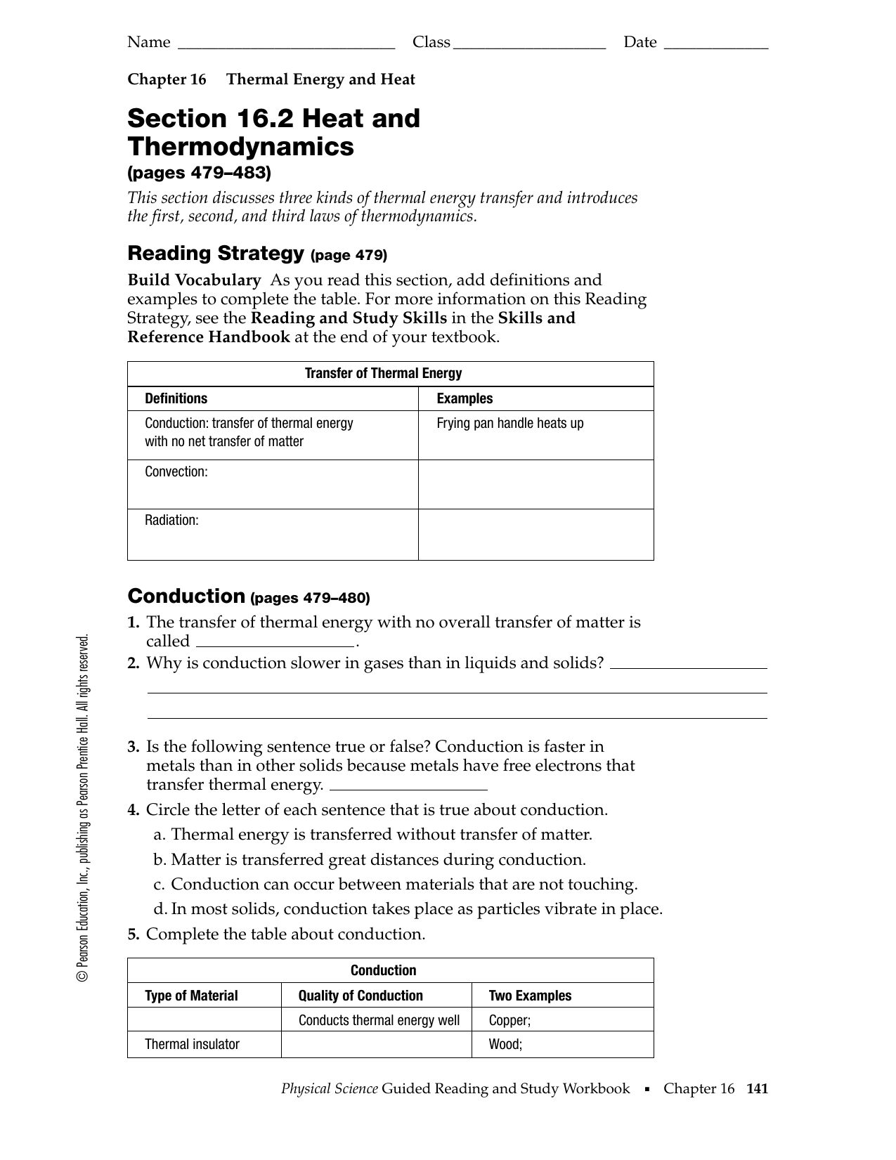 Section 16 2 Heat And Thermodynamics Worksheet Answer Key